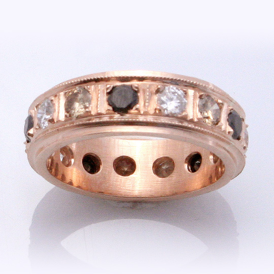 18ct Rose gold eternity band with black, white and cognac diamonds
