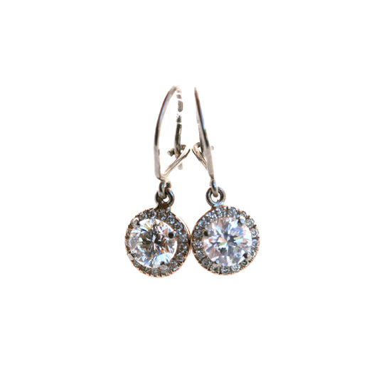 18ct White gold and diamond halo earrings