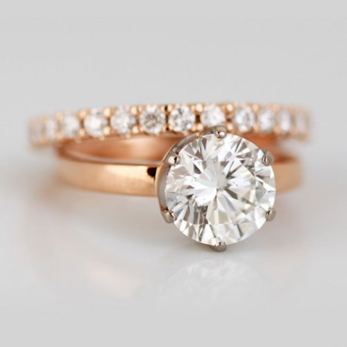 9ct Rose gold full eternity & solitaire ring set with round brilliant white diamonds