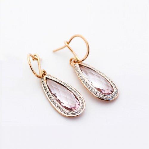 9ct Rose gold rose quartz and diamond earrings Janine Binneman Jewellery
