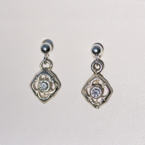 9ct White gold and diamond flower earrings