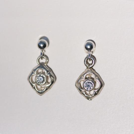 9ct White gold and diamond flower earrings