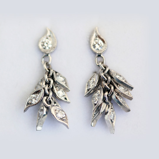 White Gold and Diamond Leaf Earrings