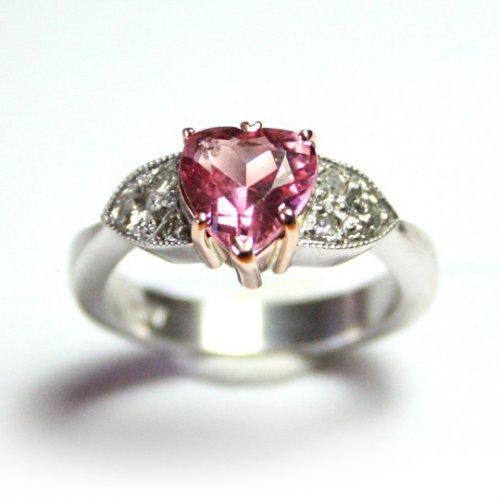 9ct White gold, pink tourmaline and diamond three stone ring