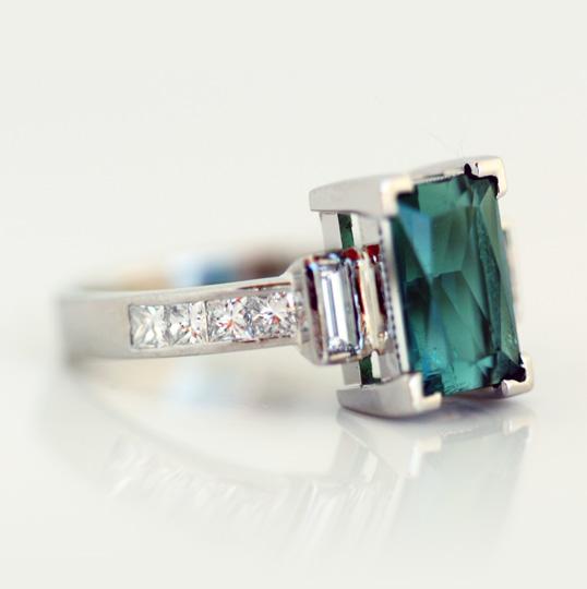 Platinum, tourmaline and diamond engagement ring