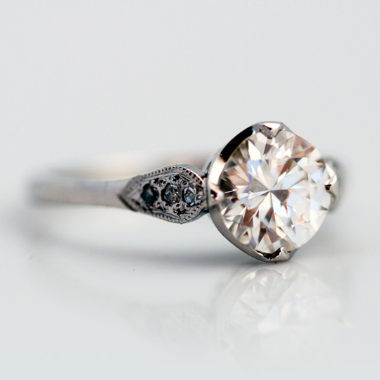 Platinum and diamond vintage style solitaire
