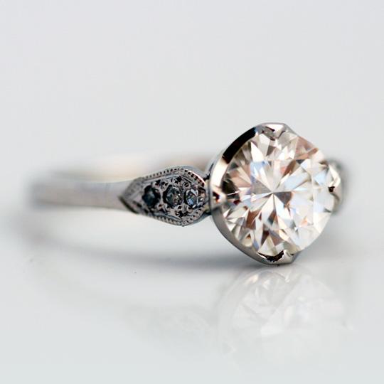 Platinum and diamond vintage style solitaire
