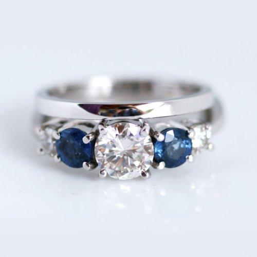 Sapphire & Diamond Engagement Ring and Plain Platinum Wedding Band