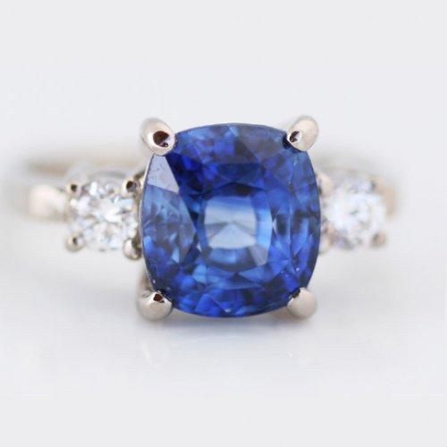 Cushion Cut Sapphire and Round Brilliant Diamond Ring