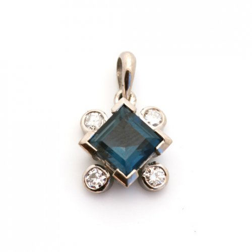 Platinum, tourmaline and diamond pendant