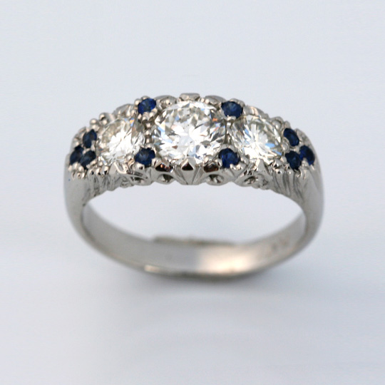 Platinum with diamonds and sapphires – vintage design