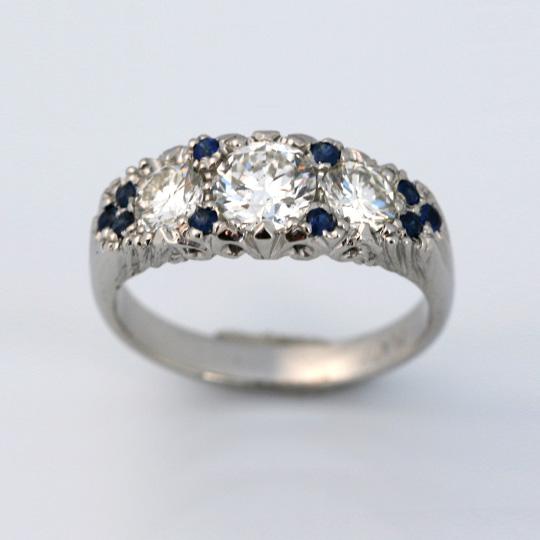 Platinum with diamonds and sapphires – vintage design