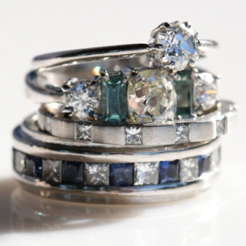 arious engagement rings with diamonds, sapphires and indicolites